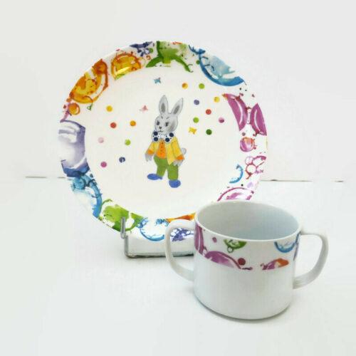 assiette et mug pour enfant le petit lapin du cirque