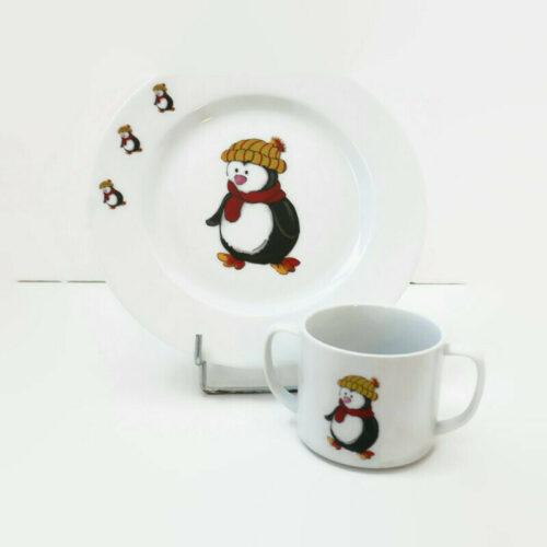 assiette et mug pour enfant le petit pingouin