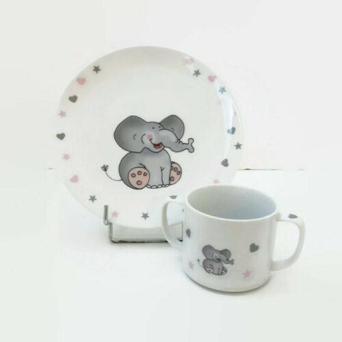 assiette et mug pour enfant le petit éléphant