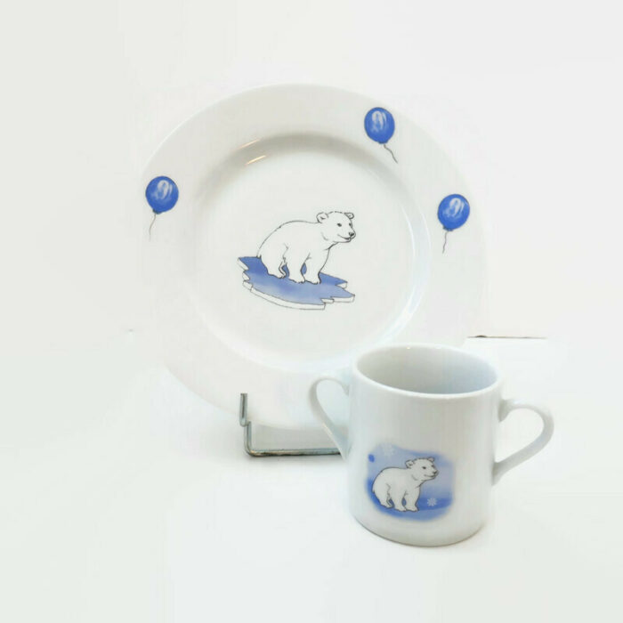 assiette et mug pour enfant l'ours polaire
